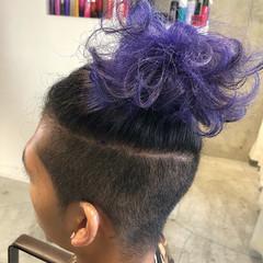 パープル ストリート アッシュ ショート ヘアスタイルや髪型の写真・画像