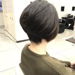 ショート 黒髪 ショートボブ ナチュラル ヘアスタイルや髪型の写真・画像