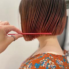 ミニボブ アプリコットオレンジ ボブ ストリート ヘアスタイルや髪型の写真・画像