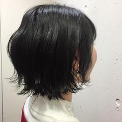 ナチュラル アッシュ ショート ロブ ヘアスタイルや髪型の写真・画像