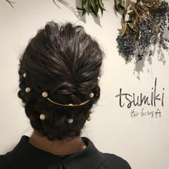 ヘアアレンジ デート ミディアム 上品 ヘアスタイルや髪型の写真・画像