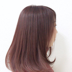 ガーリー ナチュラル ピンク ストレート ヘアスタイルや髪型の写真・画像