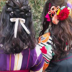 ふわふわヘアアレンジ ロング 簡単ヘアアレンジ ガーリー ヘアスタイルや髪型の写真・画像
