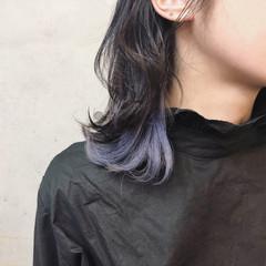 ミディアム インナーカラー 外国人風カラー 外ハネ ヘアスタイルや髪型の写真・画像