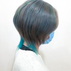 インナーカラー 派手髪 ストリート ショート ヘアスタイルや髪型の写真・画像