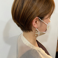 フェミニン ベージュ ハンサムショート ショート ヘアスタイルや髪型の写真・画像