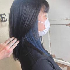 ブルージュ ターコイズブルー ブルーアッシュ ネイビーブルー ヘアスタイルや髪型の写真・画像