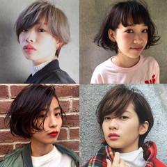 外国人風 ボブ ハイライト グラデーションカラー ヘアスタイルや髪型の写真・画像
