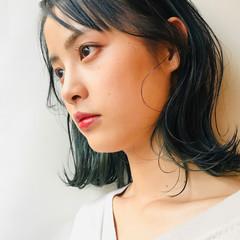 インナーグリーン グリーン ボブ エメラルドグリーンカラー ヘアスタイルや髪型の写真・画像