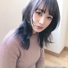 ミディアム 暗髪バイオレット ナチュラル 黒髪 ヘアスタイルや髪型の写真・画像