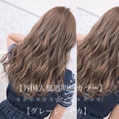 外国人風カラー セミロング デート 大人ハイライト ヘアスタイルや髪型の写真・画像