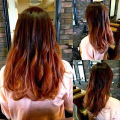 ストリート グラデーションカラー ブリーチ レッド ヘアスタイルや髪型の写真・画像