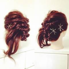 ヘアアクセ ショート くるりんぱ 簡単ヘアアレンジ ヘアスタイルや髪型の写真・画像