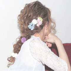 愛され ガーリー ヘアアレンジ モテ髪 ヘアスタイルや髪型の写真・画像