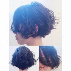 ショート ボブ ウェットヘア ストリート ヘアスタイルや髪型の写真・画像
