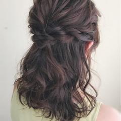 結婚式 編み込み フェミニン ミディアム ヘアスタイルや髪型の写真・画像