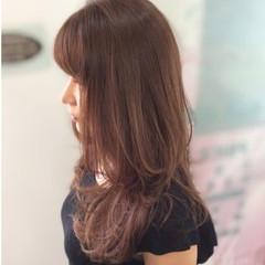 ブラウン ナチュラル セミロング ブラウンベージュ ヘアスタイルや髪型の写真・画像