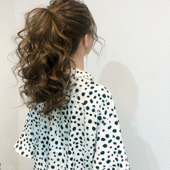 ポニーテール フェミニン 結婚式 ポニーテールアレンジ ヘアスタイルや髪型の写真・画像