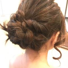 編み込み ナチュラル ヘアアレンジ 簡単ヘアアレンジ ヘアスタイルや髪型の写真・画像