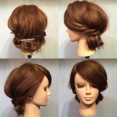 ヘアアレンジ セミロング ロープ編み ショート ヘアスタイルや髪型の写真・画像