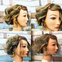 お洒落 ミニボブ ヘアアレンジ 3Dハイライト ヘアスタイルや髪型の写真・画像
