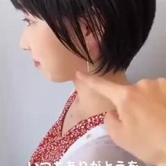 ショート ベリーショート ショートヘア 切りっぱなしボブ ヘアスタイルや髪型の写真・画像