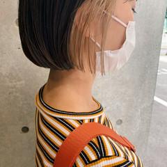 インナーカラーグレージュ インナーカラー ボブ ミニボブ ヘアスタイルや髪型の写真・画像