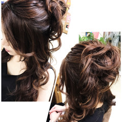 ヘアアレンジ エレガント ハーフアップ 色気 ヘアスタイルや髪型の写真・画像