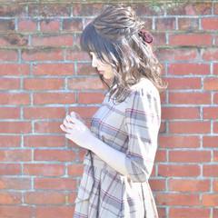 上品 セミロング デート ハーフアップ ヘアスタイルや髪型の写真・画像