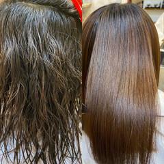 髪質改善 ミディアム ナチュラル ストレート ヘアスタイルや髪型の写真・画像