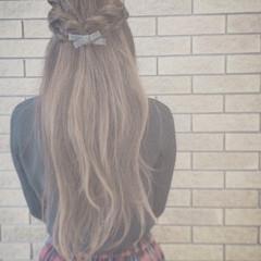 ロング ストレート ヘアアレンジ 花嫁 ヘアスタイルや髪型の写真・画像
