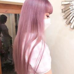 ピンク ロング ハイトーンカラー ユニコーンカラー ヘアスタイルや髪型の写真・画像