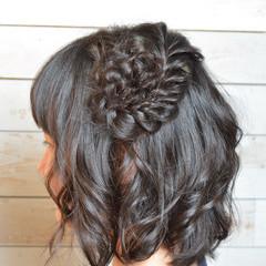 ボブ 大人かわいい 編み込み お花ヘア ヘアスタイルや髪型の写真・画像