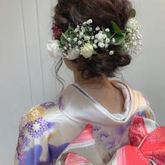 ナチュラル ヘアアレンジ セミロング デート ヘアスタイルや髪型の写真・画像