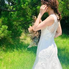 結婚式 セミロング ブライダル たまねぎアレンジ ヘアスタイルや髪型の写真・画像