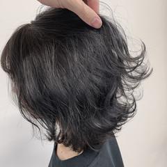 切りっぱなしボブ ボブ ネイビーブルー 透明感カラー ヘアスタイルや髪型の写真・画像