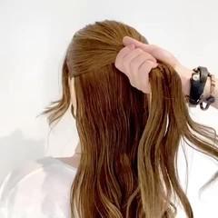 三つ編み セルフヘアアレンジ ハーフアップ エレガント ヘアスタイルや髪型の写真・画像