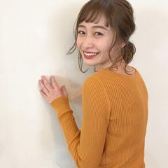 ミディアム ナチュラル デート 簡単ヘアアレンジ ヘアスタイルや髪型の写真・画像