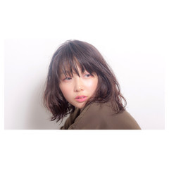 切りっぱなし デジタルパーマ ボブ 外国人風 ヘアスタイルや髪型の写真・画像