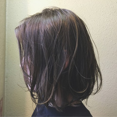 黒髪 アッシュ パーマ ボブ ヘアスタイルや髪型の写真・画像