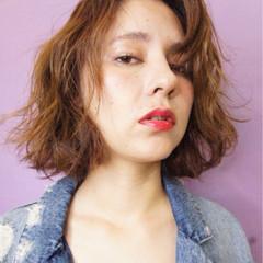 ストリート 外国人風 ボブ オレンジベージュ ヘアスタイルや髪型の写真・画像
