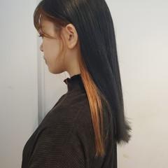 暗髪 ロング 髪質改善トリートメント モード ヘアスタイルや髪型の写真・画像