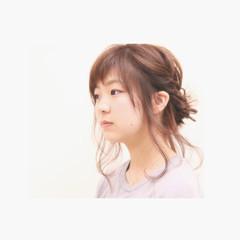 お団子 大人かわいい ロープ編み セミロング ヘアスタイルや髪型の写真・画像