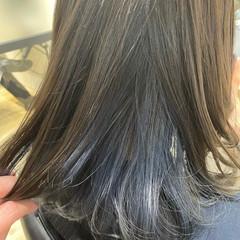 イヤリングカラーベージュ インナーカラー イヤリングカラーピンク ボブ ヘアスタイルや髪型の写真・画像