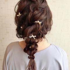 ヘアアレンジ セミロング 編みおろし 編みおろしヘア ヘアスタイルや髪型の写真・画像