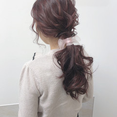 ヘアアレンジ 大人可愛い ガーリー ローポニー ヘアスタイルや髪型の写真・画像