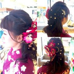 黒髪 セミロング 袴 波ウェーブ ヘアスタイルや髪型の写真・画像