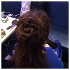 編み込み ゆるふわ ハーフアップ ヘアアレンジ ヘアスタイルや髪型の写真・画像