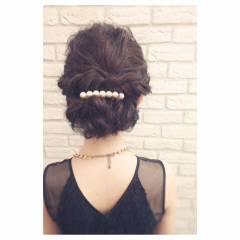 セミロング 大人かわいい パーティ フェミニン ヘアスタイルや髪型の写真・画像