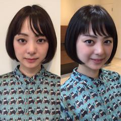 透明感 ナチュラル ショート オフィス ヘアスタイルや髪型の写真・画像